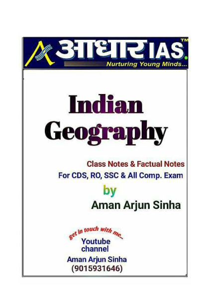 Handwritten Notes Indian Geography : for SDN, RO, SSC Competitive Exams