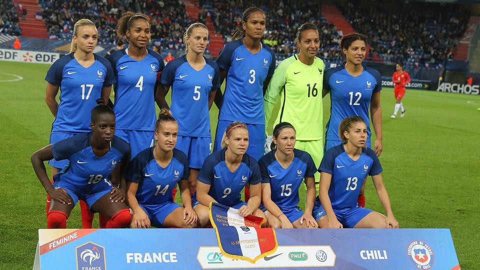 Formación de selección femenina de Francia ante Chile, amistoso disputado el 15 de septiembre de 2017
