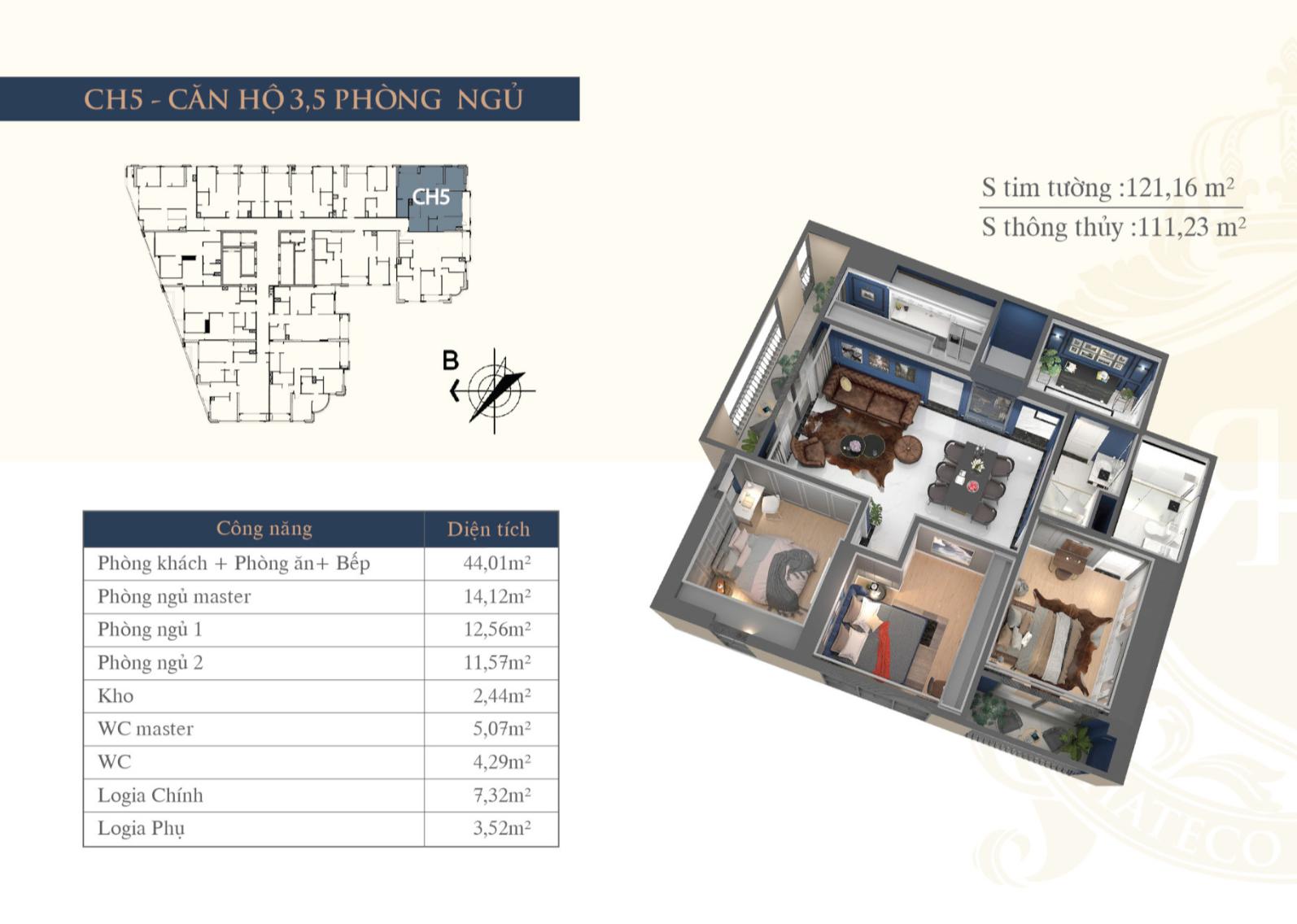 Chi tiết căn hộ Hateco Plaza - CH5