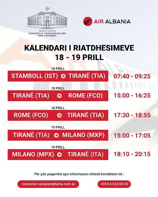 Rimpatriati da Istanbul, Roma e Milano a Tirana, Il ministero abanese pubblica le date e gli orari dei voli da eseguire questa settimana