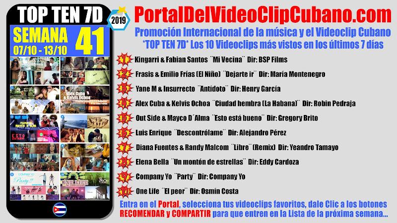 Artistas ganadores del * TOP TEN 7D * con los 10 Videoclips más vistos en la semana 41 (07/10 a 13/10 de 2019) en el Portal Del Vídeo Clip Cubano