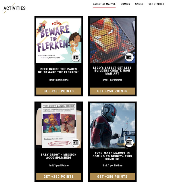 An image showing activities and tasks on Marvel Insiders