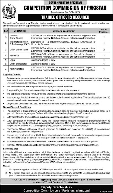 Competition Commision of Pakistan New Govt Jobs 2021- New Govt Jobs 2021