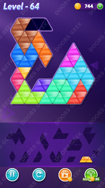 Block! Triangle Puzzle 12 Mania Level 64 Solution, Cheats, Walkthrough for Android, iPhone, iPad and iPod