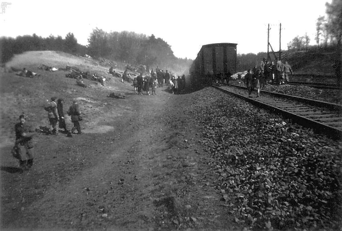 On the hill to the left are people resting - some forever. Some sixteen died of starvation before food could be brought to the train.