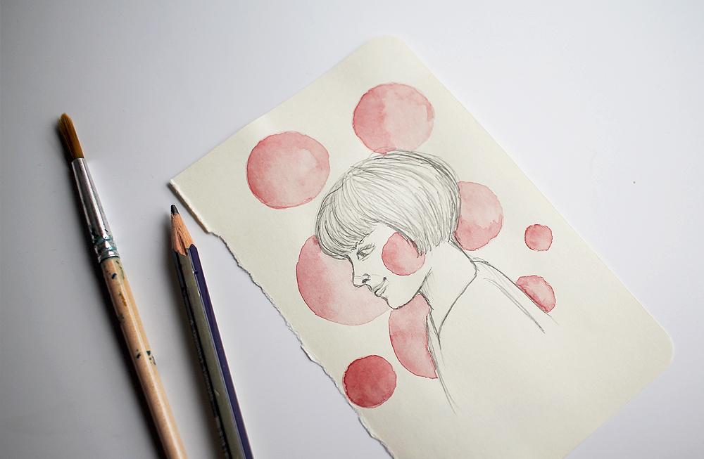 Dibujando experimentando acuarela dibujo lápiz