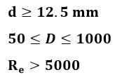 Límites para cálculo de placa de orificio