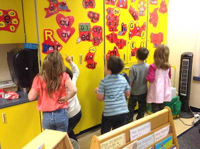 "Kindergartners Stalking the Secret Stories® Phonics  ""Wall of Secrets!"""