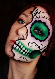 day of the dead makeup half face green