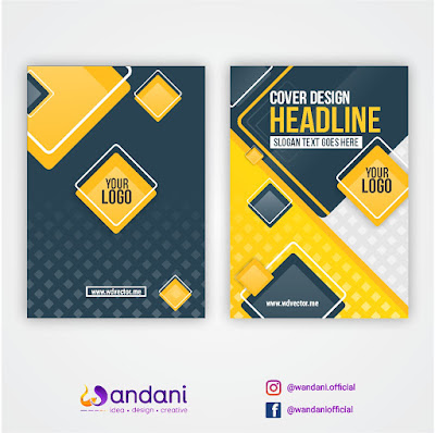 Cover design template with yellow and dark blue square shape - Free Vector