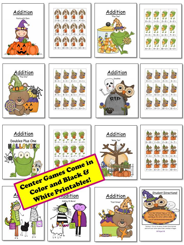Fern Smith's Classroom Ideas Halloween Addition Center Games with Nine Concepts at Fern Smith's Classroom Ideas Teacherspayteachers Store.