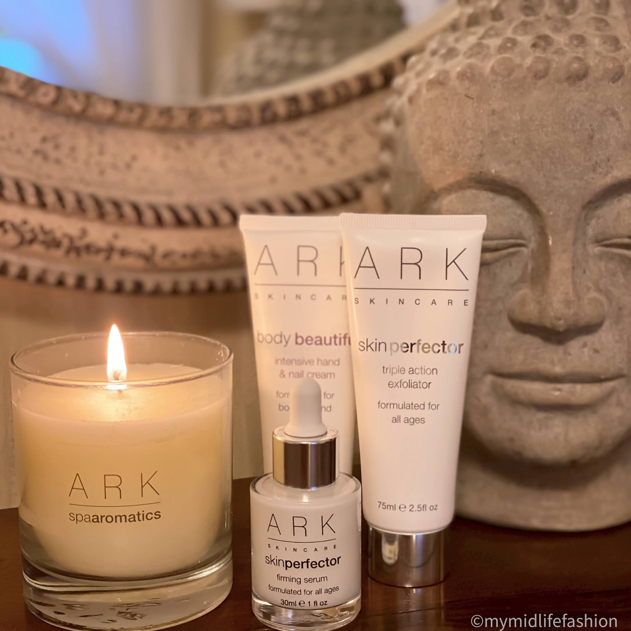 my midlife fashion, ark skincare nutmeg cinnamon and clove luxury home candle, ark skincare firming serum, ark skincare triple action exfoliator, ark skincare intensive hand and nail cream