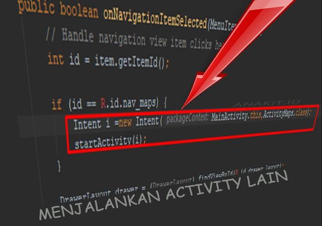 cara membuat script untuk membuka activity lain di android studio