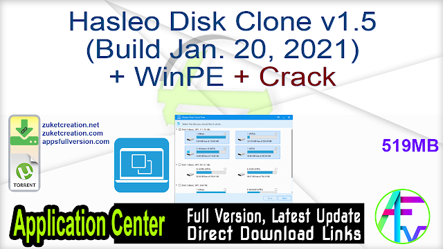 Hasleo Disk Clone v1.5 (Build Jan. 20, 2021) + WinPE + Crack