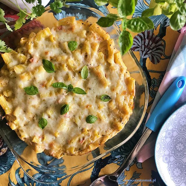 Zapiekanka trzy sery czyli penne z ricottą, mozzarellą i parmezanem