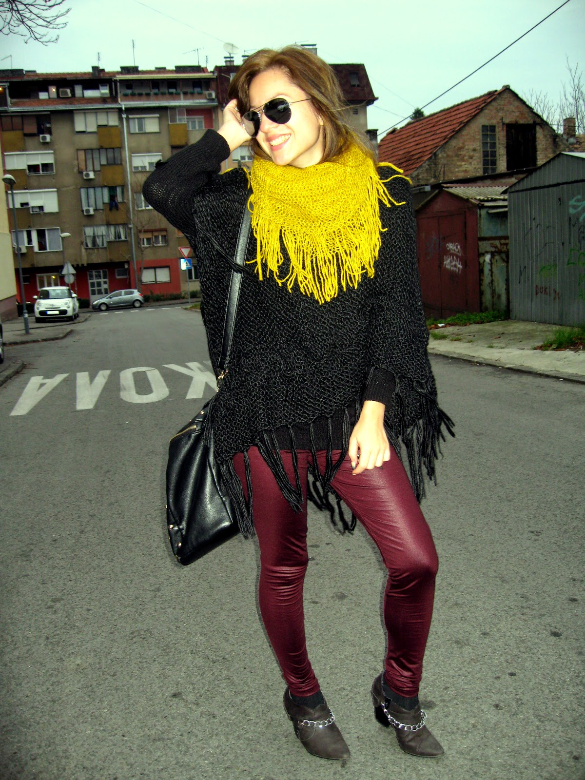 outfit, burgundy leggings, black poncho, mustard scarf, DIY chain cut boots, #fallootd