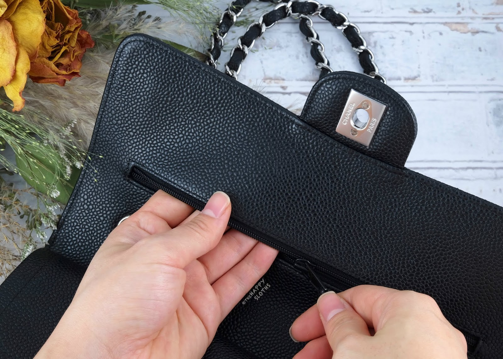 Chanel | Medium Classic Flap Handbag in Black Caviar Leather with Silver Hardware | Hidden Zipper Pocket: Review
