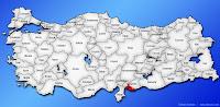 Kilis ilinin Türkiye haritasında gösterimi