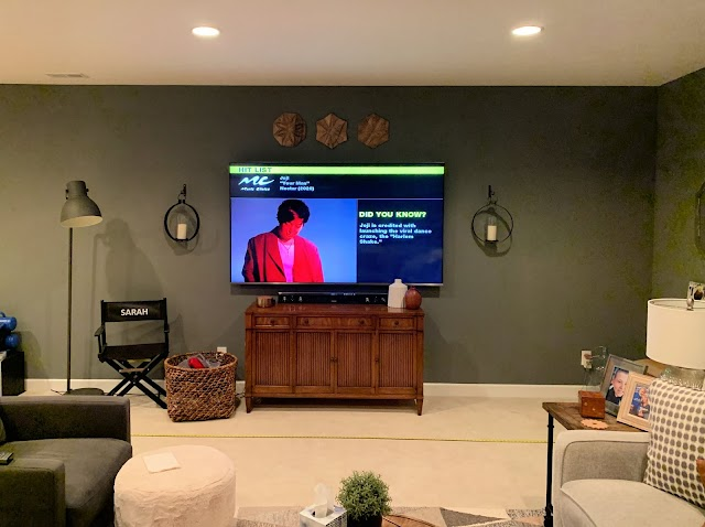 long family room wall with TV