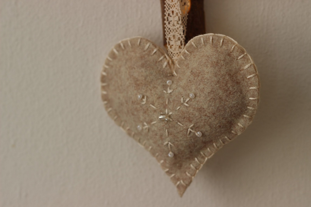 Natural felt heart decoration