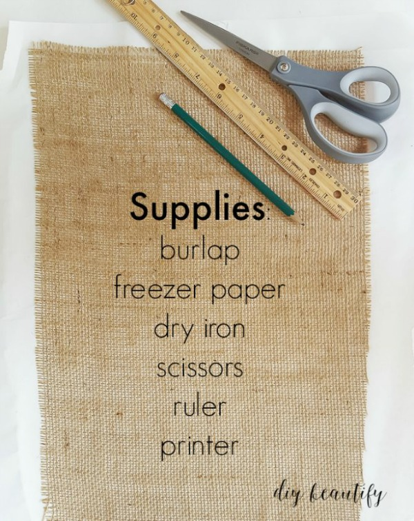 supplies for burlap pillow