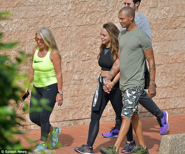 Part of the family! Jeremy Meeks,Chloe Green and her mum take a stroll in Monaco