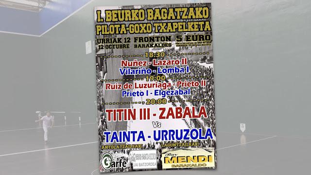 Cartel del festival de pelota con motivo de la fiestas de Beurko Bagatza