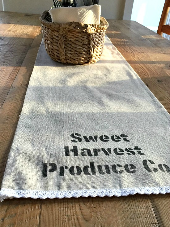 How to make a stenciled table runner from a store bought linen runner