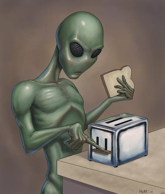 Alien jugando con los electrodomésticos