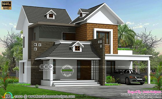2350 sq-ft 4 bedroom sloping roof home front design