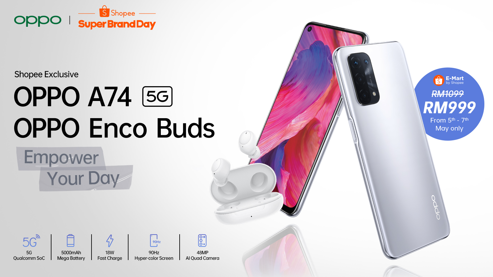OPPO launches the A74 5G smartphone and Enco Buds exclusively on Shopee at its first regional Super Brand Day Sale