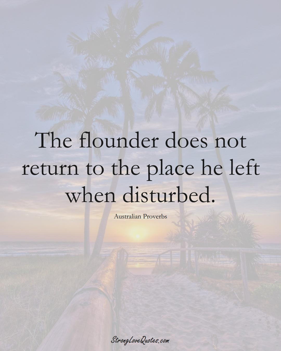 The flounder does not return to the place he left when disturbed. (Australian Sayings);  #AustralianSayings
