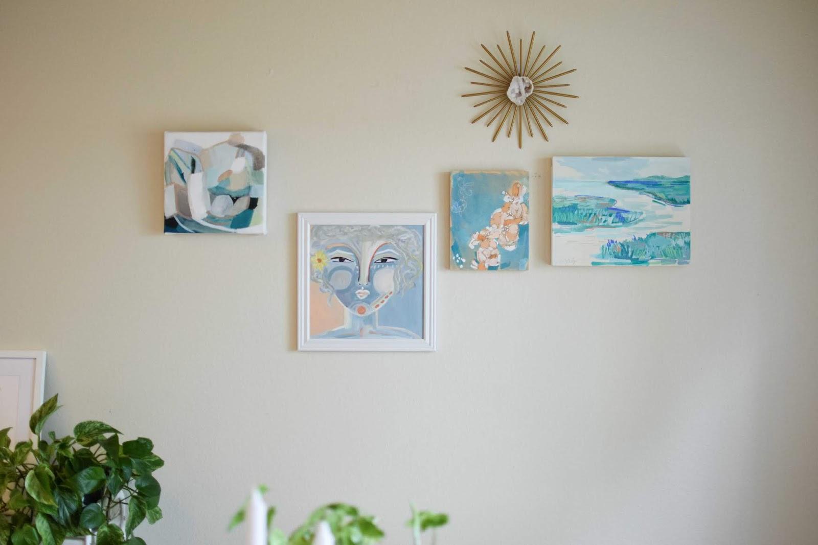Gallery wall featuring original art