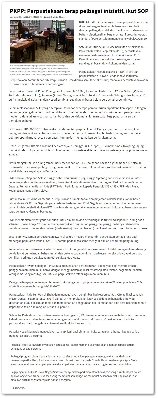 PKPP : Perpustakaan terap pelbagai inisiatif, ikut SOP - Keratan berita online Astro Awani | Bernama 22 Julai 2020