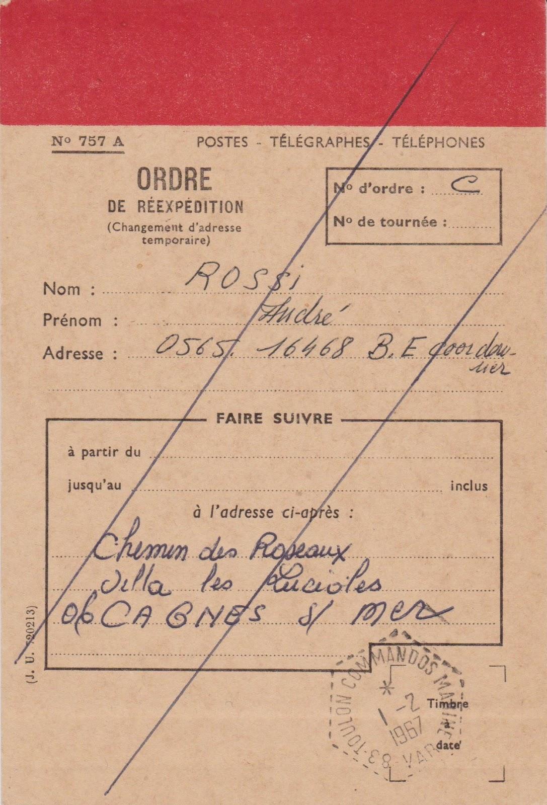 La poste aux armees la carte n 757 a ordre de for La poste changement adresse definitif