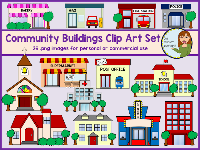 One Teacher's Adventures: Community Buildings Clip Art Set