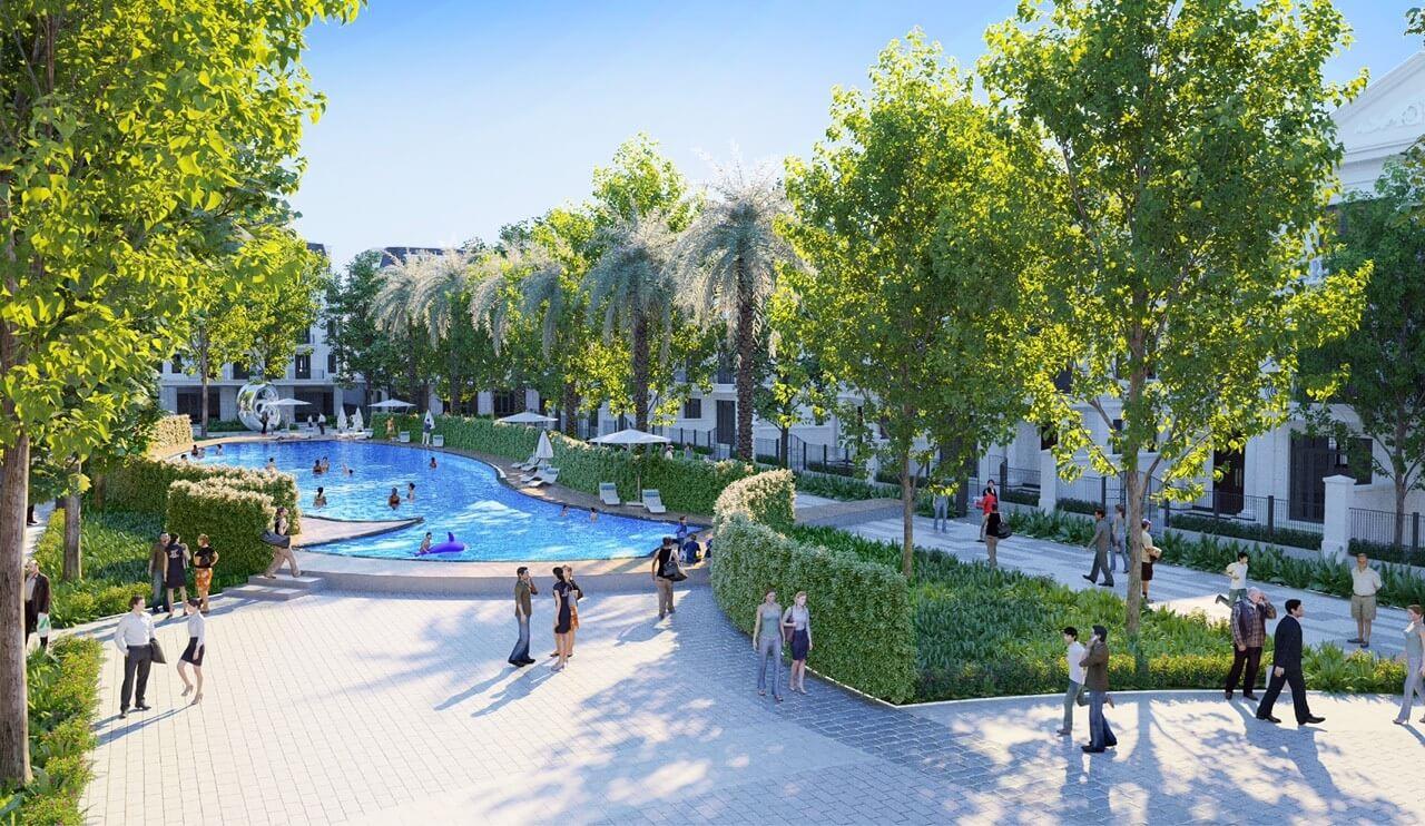 Bể bơi trong nội khu dự án Eurowindow Twin Parks Trâu Quỳ.