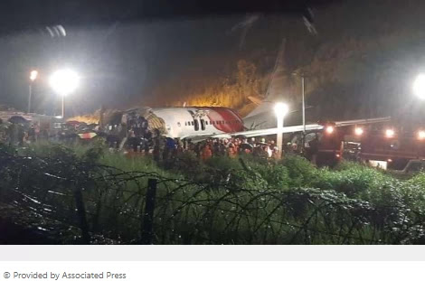 Plane slips off the runway in India; 17 murdered, including pilots