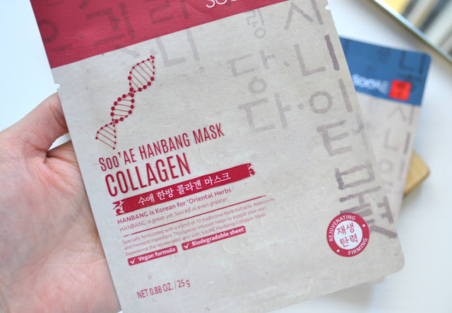 Soo'Ae HanBang Collection: Collagen, Cica and Hyaluronic Acid Sheet Mask Review