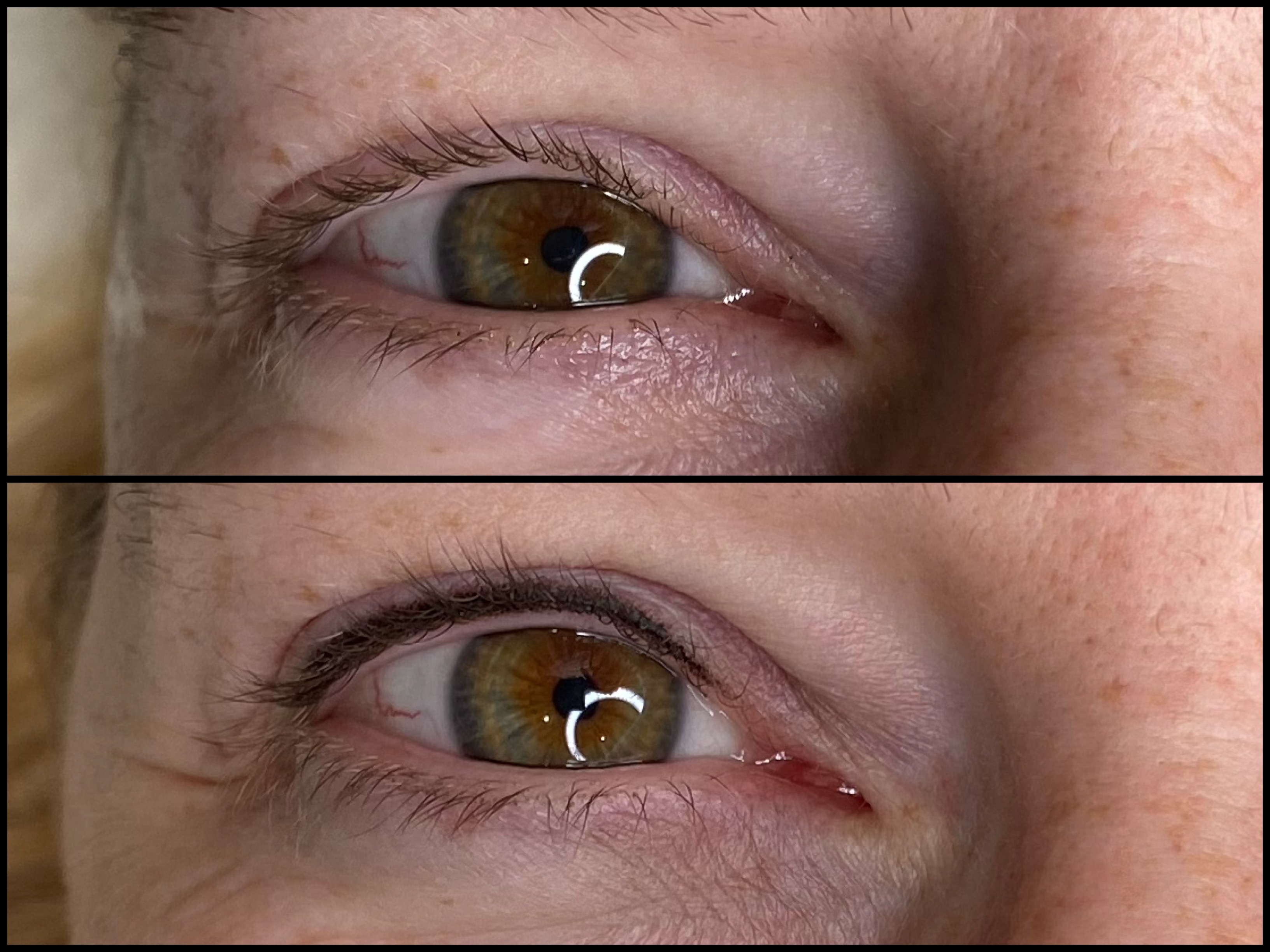 Close up of eyes before and after subtle permanent eyeliner treatment