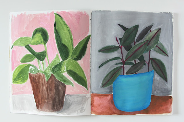 2x2, #2x2sketchbook, gouache paintings, plant paintings, Dana Barbieri, Anne Butera