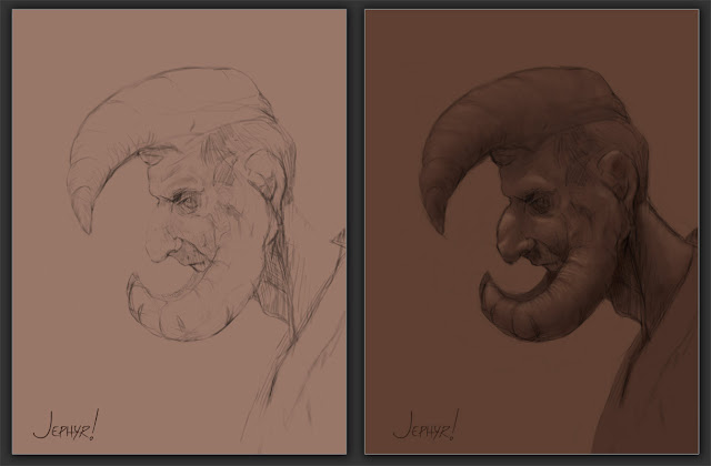 """Enlightenment"" - Original Sketch And Early WIP - Copyright 2017 - Jephyr - All Rights Reserved"