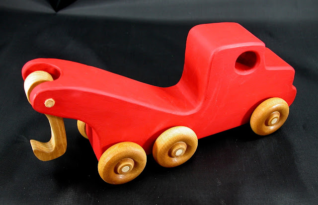 Handmade Wooden Toy Tow Truck From The Quick N Easy 5 Truck Fleet - Red Version - Top Rear Right View