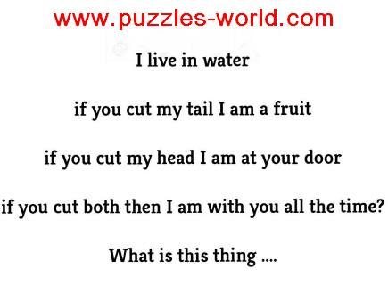 I live in water. If you cut my tail I am a fruit