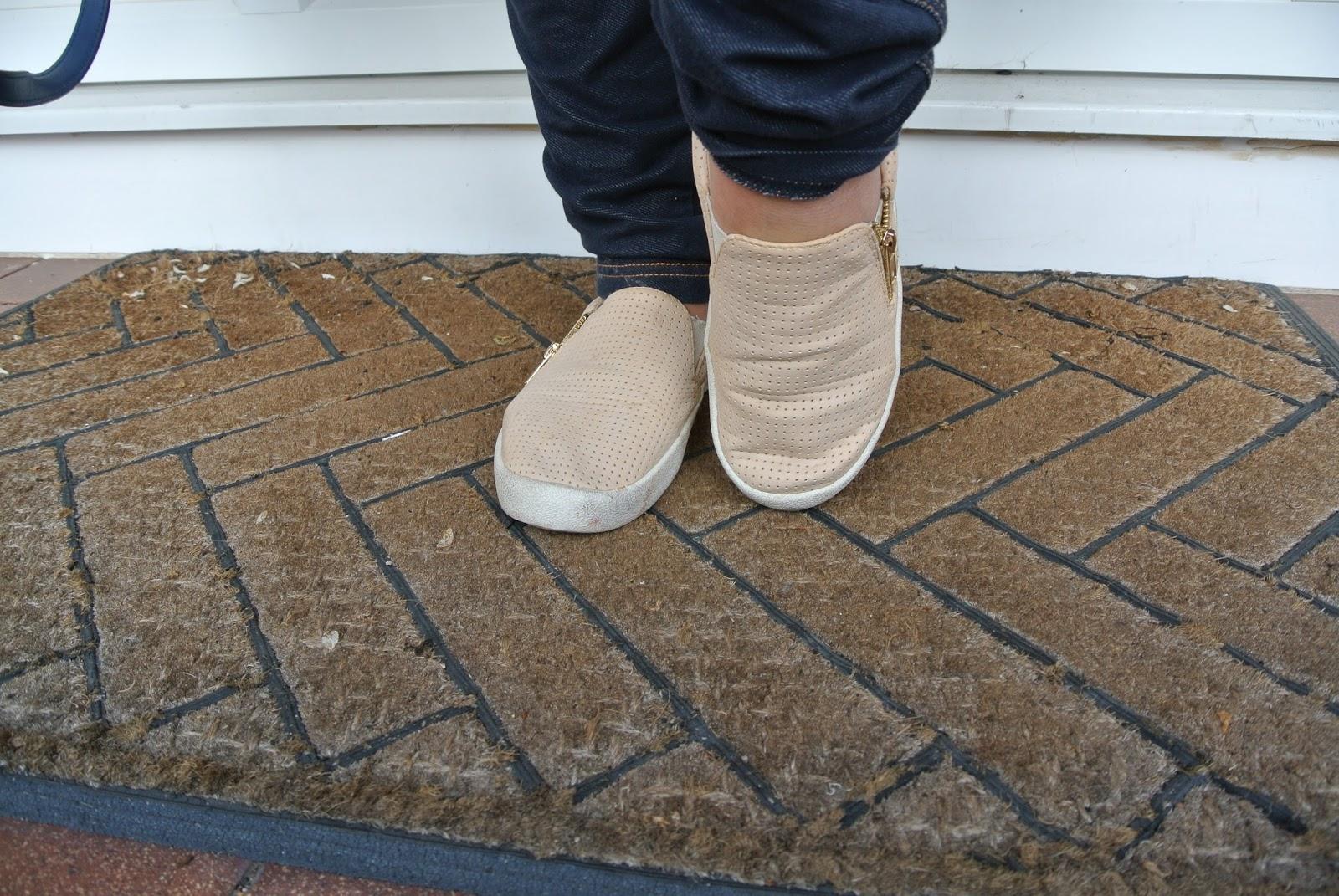 Flat cream slip on shoes