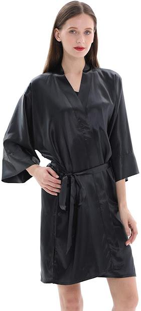 Short Black Silk Robes For Women