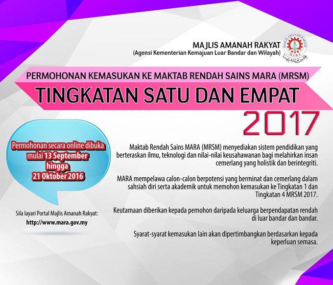 Permohonan Masuk Tingkatan 1 dan Tingkatan 4 MRSM untuk tahun 2017