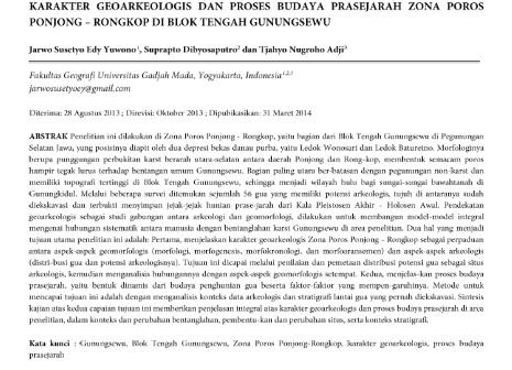 Karakter Geoarkeologis dan Proses Budaya Prasejarah Zona Poros Ponjong – Rongkop [PAPER]