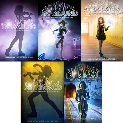Image of all of the front covers of the books in the Circuit Fae series