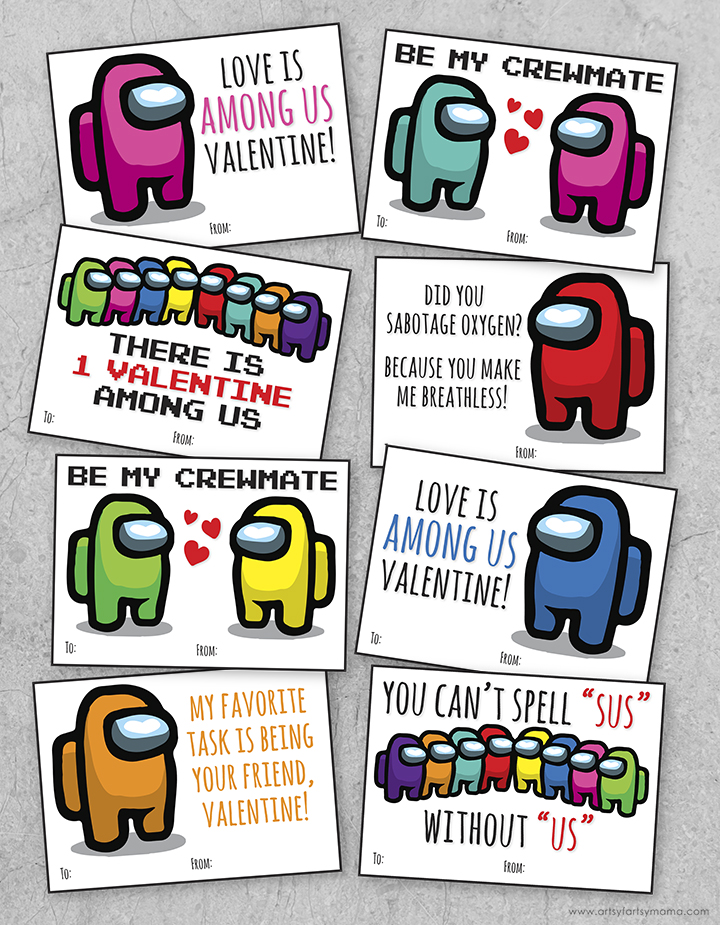 Free Printable Among Us Valentines